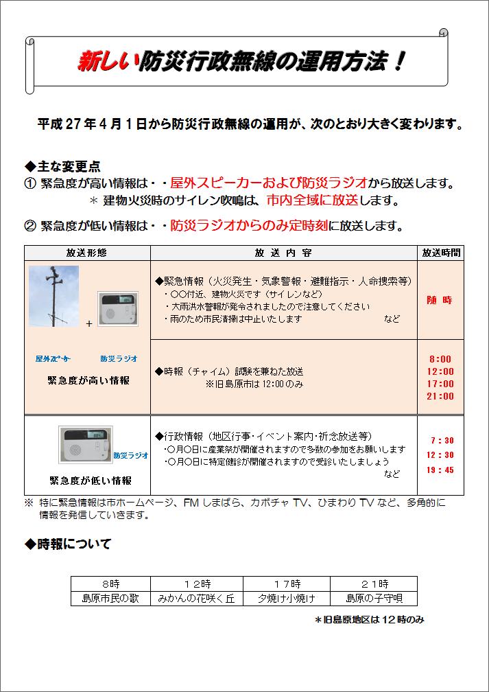 新しい防災行政無線の運用方法!